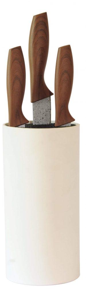 Βάση στήριξης μαχαιριών κυλινδρική με επικάλυψη rubber σε λευκό χρώμα estia