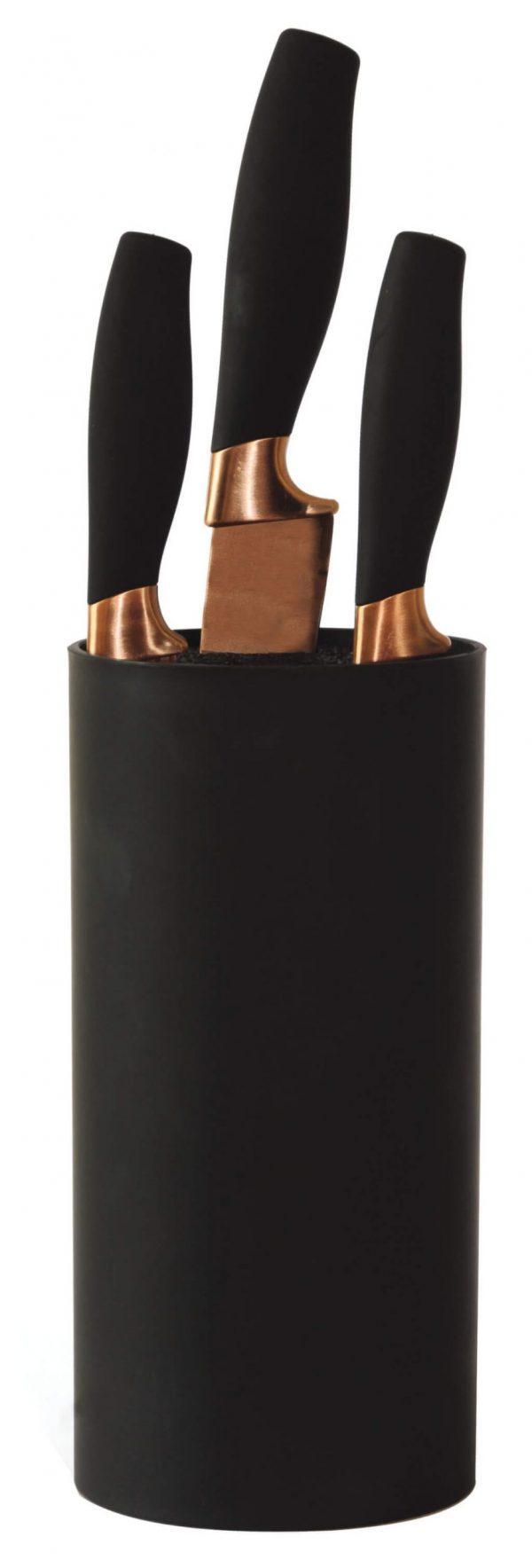 Βάση στήριξης μαχαιριών κυλινδρική μαύρη estia